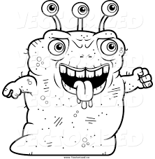 royalty free clipart of a black and white ugly alien walking by