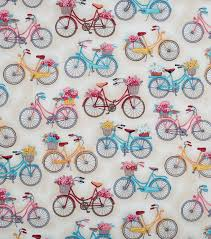 bicycle wrapping paper novelty quilt fabric white bikes with baskets joann