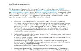 non disclosure agreement nda standard template bizorb