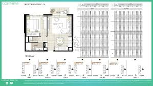 1 Bedroom Apartment Floor Plans by Golf Views By Emaar 2 Bedroom Apartment 2b Floor Plan