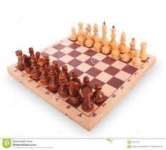 chess on a chess board on white background stock image image