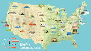 us vector map usa vector map and us landmark icons by dem g graphicriver