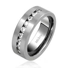 wedding band ring mens titanium channel set cubic zirconia wedding band ring 8mm