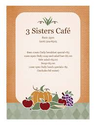 thanksgiving menu template 3 sisters cafe