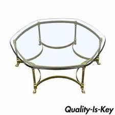 Vintage Table Ls Vintage Labarge Brass Hoof Foot Regency Hexagonal Glass