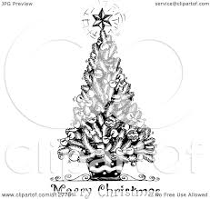 cartoon of a merry christmas greeting and sketched tree in black
