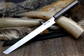 Custom Japanese Kitchen Knives by Yoshihiro Shiro Tora White Steel 1 Sakimaru Takobiki Sushi