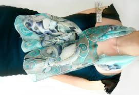 handpainted lilies silk chiffon lilies scarf in blue and grey