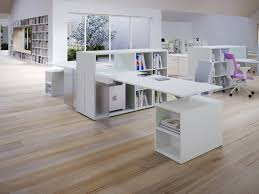 furniture grey and white wooden computer desk with book shelf
