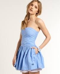 womens 50s dress in mid blue superdry