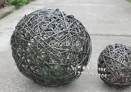 woven wicker balls of different sizes home decoration