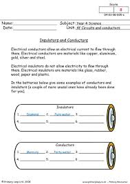 primaryleap co uk insulators and conductors worksheet