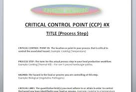 critical control point template usa food solutions