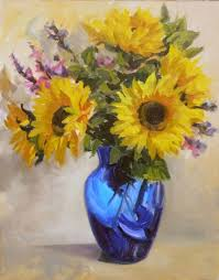 Vase Of Sunflowers Sandra Kavanaugh Fine Art Sunflowers In A Blue Vase
