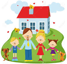 cartoon house with family clipart clipartfest