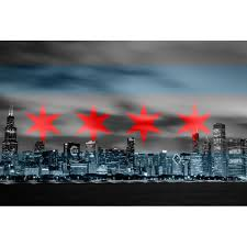Chicagos Flag Chicago Flag Black U0026 White Skyline Wall Graphic U2013 Zapwalls