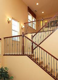 Landing Banister Staircase With Half Landing And Wrought Iron Spindles In Villa