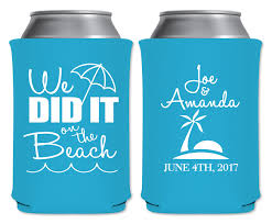 wedding koozies we did it on the 1a custom coolers summer wedding favors