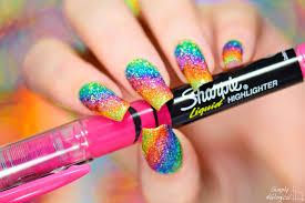 simply nailogical sparkly highlighter rainbow nail art