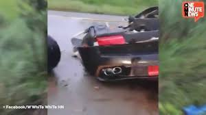 lamborghini aventador split in half speeding lamborghini splits in half driver unhurt youtube