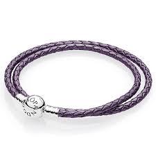bracelet leather pandora images Pandora purple braided double leather charm bracelet