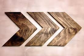set of 3 small wood chevron arrows wood arrow wall