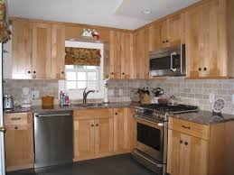 Kitchens With Hickory Cabinets Brick Bone Light Gray Ceramic Back Splash Decor With Varnished