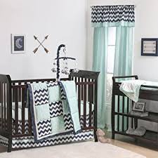 Zig Zag Crib Bedding Set Navy Blue Zig Zag And Mint Arrow 4 Crib Bedding