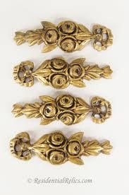 set of 4 heavy antique cast brass furniture leg ornaments circa 1900