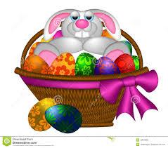 bunny basket eggs easter bunny rabbit laying in egg basket stock photography