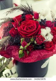 Roses In A Box Flower Gift Krasivae Red Roses Box Stock Photo 345623876