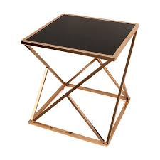 danya b square geodesic rose gold end table with black glasstop