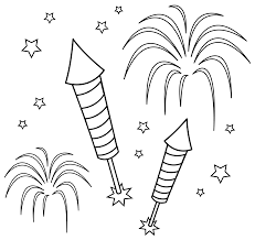fun colorable fireworks free clip art