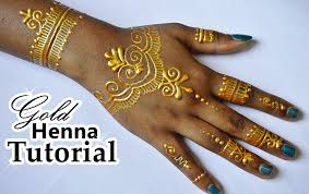 diy how to apply gold henna body paint temporary tattoo samia