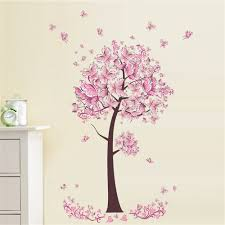 Wall Sticker Warehouse 2018 Pink Butterfly Flower Tree Wall Sticker For Home Room