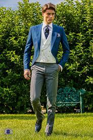 matin mariage costume du matin jaquette bleu royal avec revers de pointe et 1
