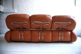 1970s Leather Sofa 1970s Leather Sofa By Adriano Piazzesi Cream And Chrome