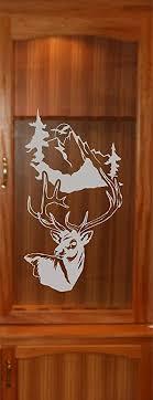 etched glass kitchen cabinet doors stickerchef deer buck mountains diy etched glass vinyl gun cabinet window front door gc06b