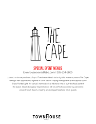 the cape special event menus by sbe issuu