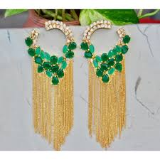dangler earrings american diamond studded emerald dangler earrings