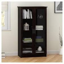 Carlyle Large Bookcase Quinton Point Glass Door Bookcase Espresso Ameriwood Home