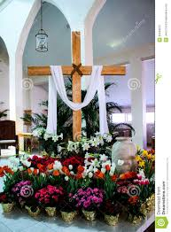 Easter Decorations For Church Sanctuary by Easter Altar Decorations The Altar Is Made Of Wood And Is In The