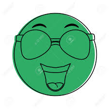 happy green color happy emoji with sunglasses instant messaging icon image vector