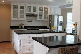 White Kitchen Cabinets With Gray Granite Countertops Black And White Kitchens U Shaped Kitchen Designs With Island