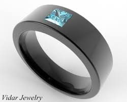 black wedding bands for him and men s wedding band black gold princess cut aquamarine unique ring