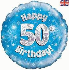 50th birthday balloons oaktree happy 50th birthday blue holographic age birthday 18