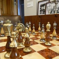 heirloom solid brass and wood chess set