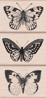 three artistic butterflies woodblock st set large