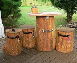 tables made from logs garden table and stools made of oak logs thebestwoodfurniture com