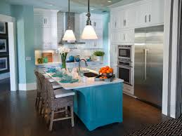 blue kitchen island with flower vase decorate your kitchen